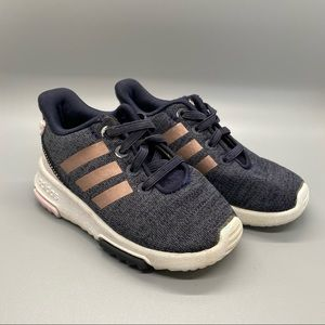 Adidas sneakers blue with 3 stripes, girls size 6